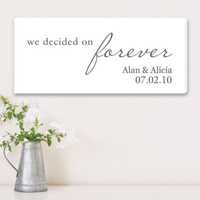Personalized We Decided on Forever Wedding Canvas Print - 2 Colors - White - JDS