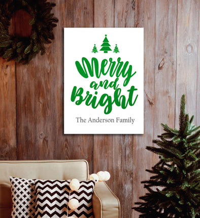 Personalized Merry & Bright Christmas Canvas Print -  - JDS