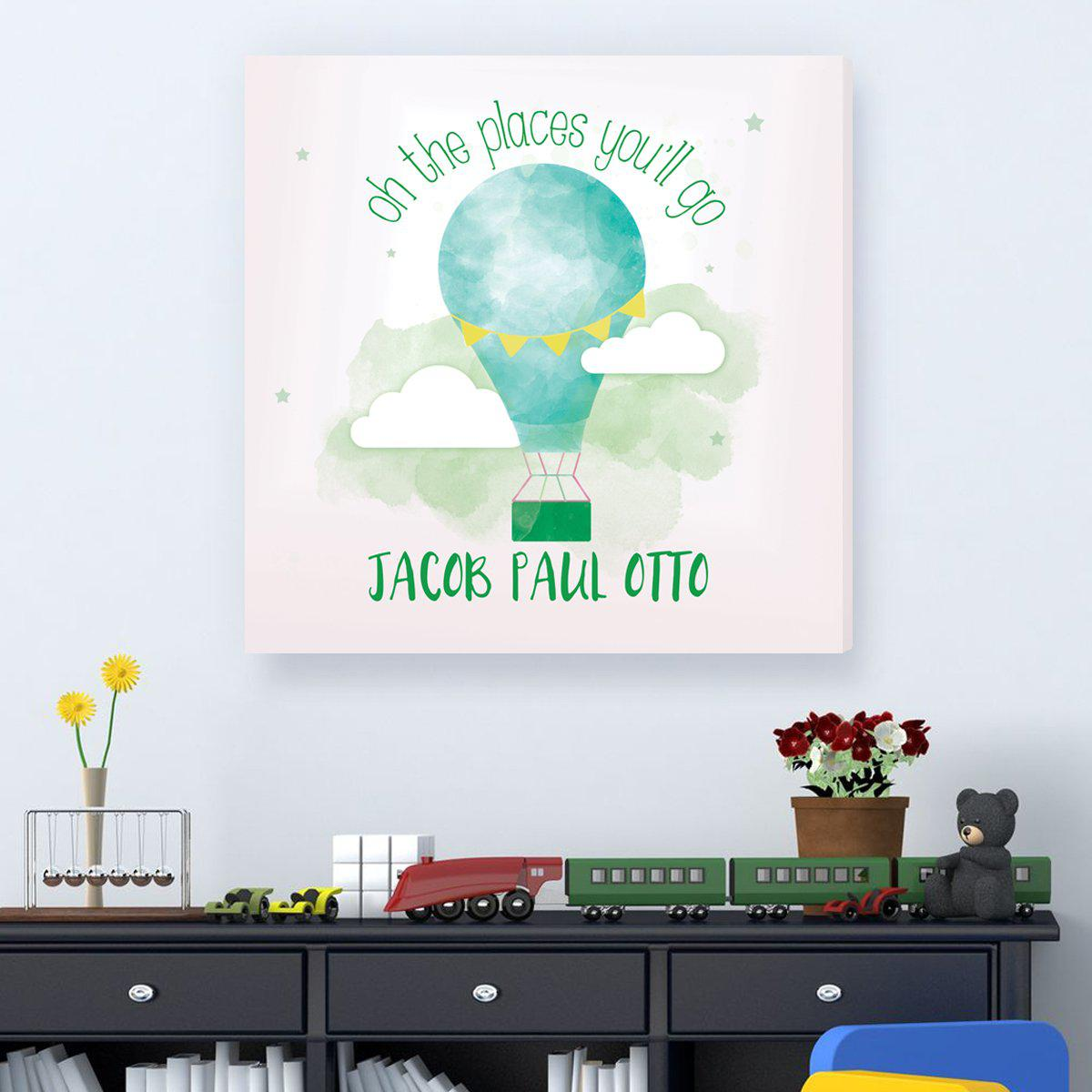 The Places You'll Go Kids Sign - Hot Air Balloon