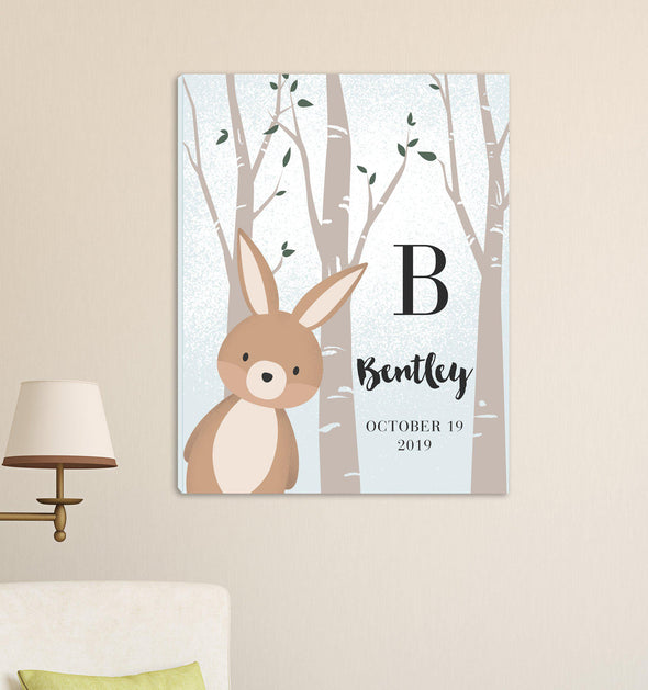 Personalized Woodland Animal Canvas - Pink or Blue - Bunny Blue - JDS