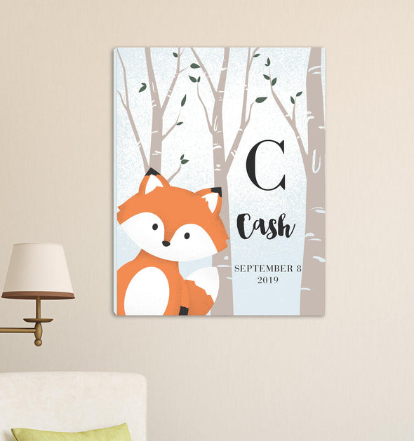 Personalized Woodland Animal Canvas - Pink or Blue - Fox Blue - JDS