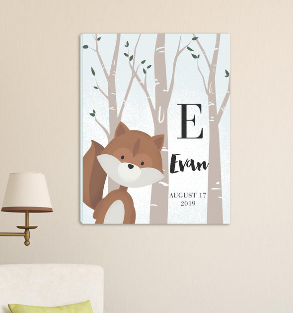 Personalized Woodland Animal Canvas - Pink or Blue - Squirrel Blue - JDS