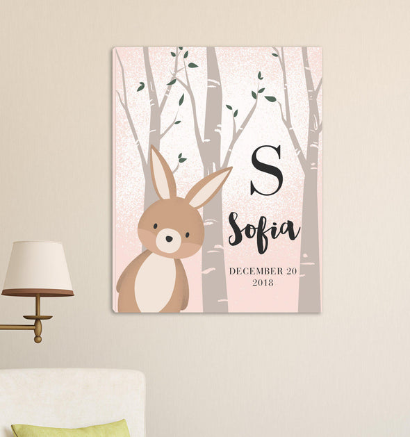 Personalized Woodland Animal Canvas - Pink or Blue - BunnyPink - JDS