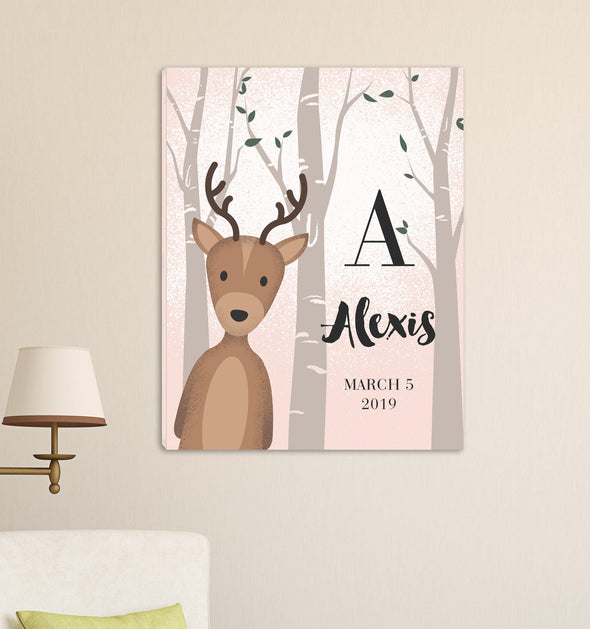 Personalized Woodland Animal Canvas - Pink or Blue - Deer Pink - JDS