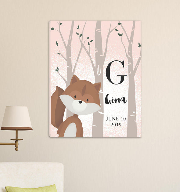 Personalized Woodland Animal Canvas - Pink or Blue - Squirrel Pink - JDS
