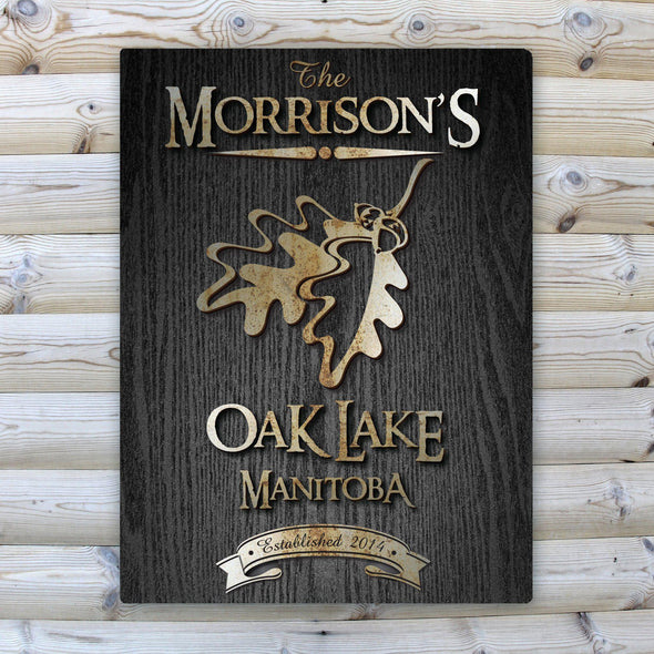 Personalized Wood Gain Welcome to the Lake Canvas Sign - OakLeaf - JDS