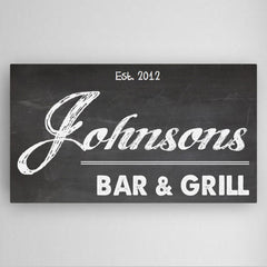 Personalized Home Bar Canvas Sign