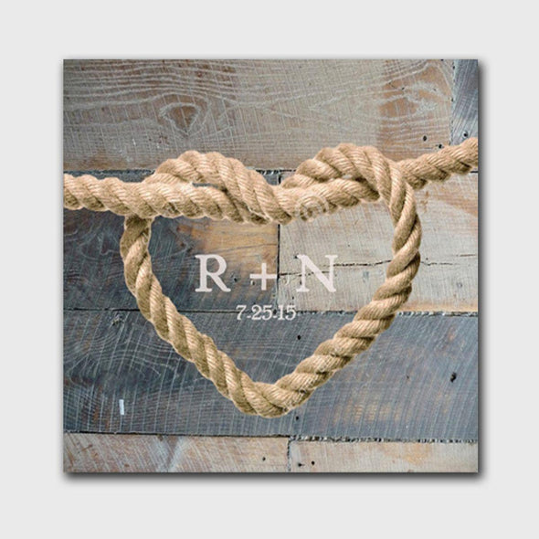 Personalized Knot Canvas Print - RusticWood - JDS