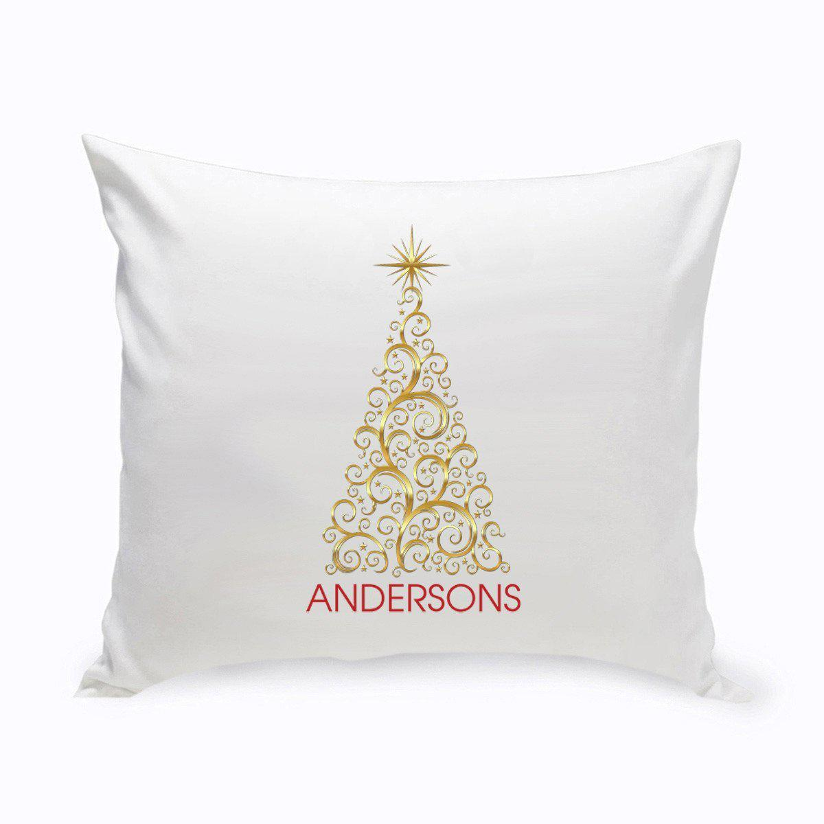 Personalized Gold Christmas Tree Holiday Throw Pillows