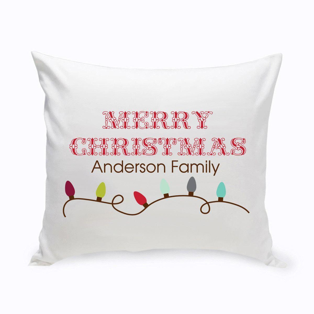 Personalized Xmas Lights Holiday Throw Pillows