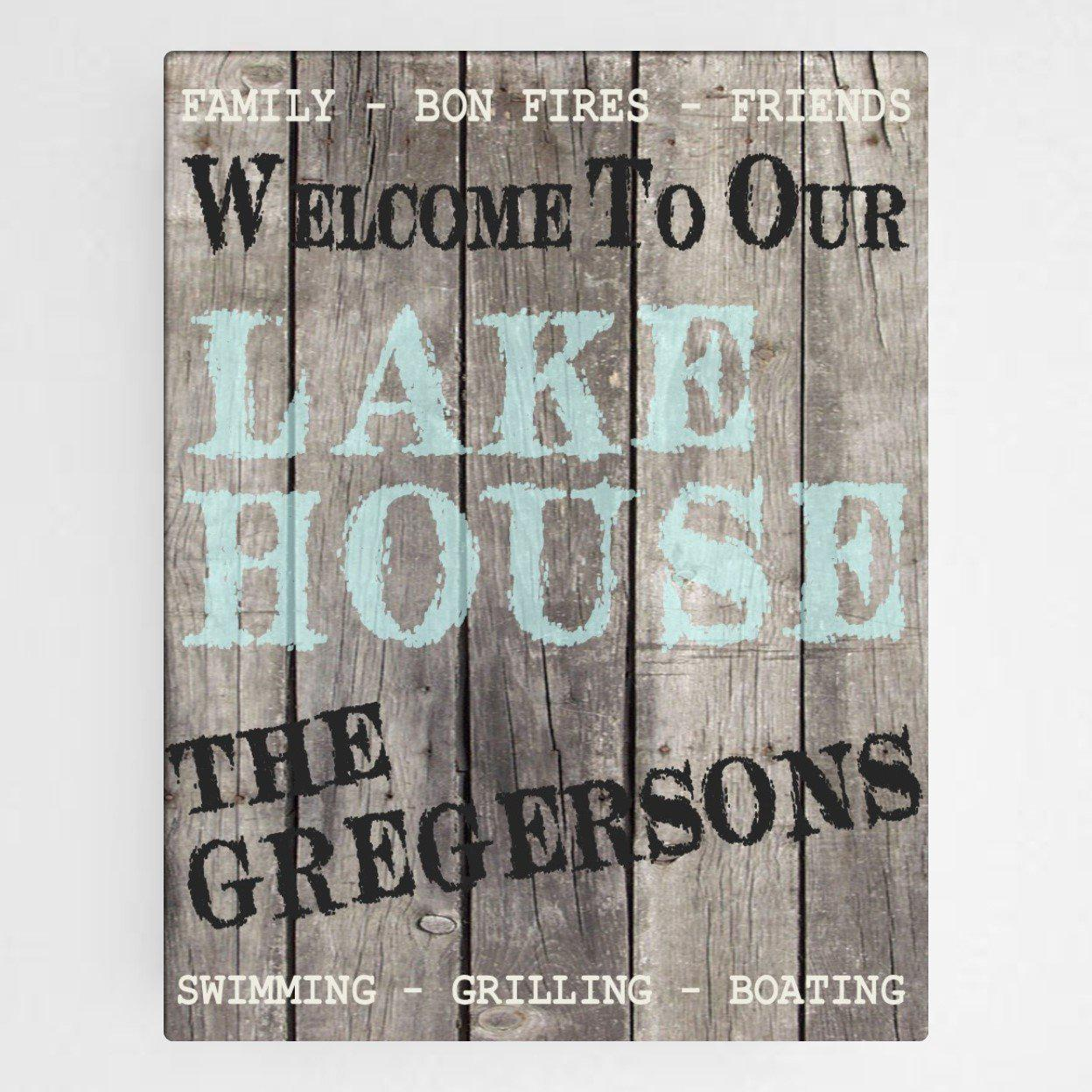 Personalized Wood Lake House Canvas Signs