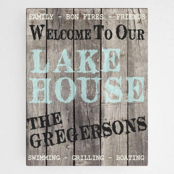 Personalized Signs - Wood Lake House Canvas Sign -