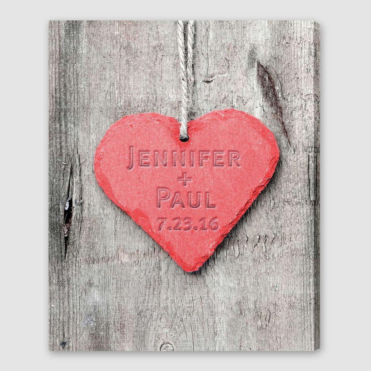 Personalized Embossed Heart Canvas Sign