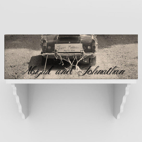 Personalized Just Married Canvas Sign - Black/White or Color - Black&White - JDS
