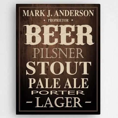 Personalized Beer Canvas Sign -  - Canvas Prints - AGiftPersonalized