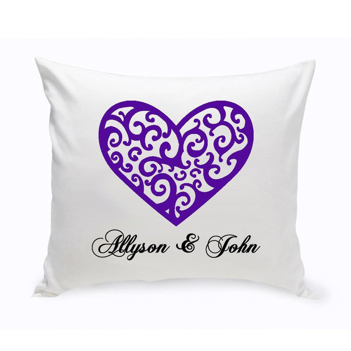 Personalized Heart Throw Pillow : Personalized Throw Pillows - Personalized Couples Unity Vintage Heart