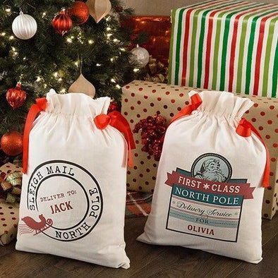 Personalized Drawstring Santa Gift Bag -  - Qualtry