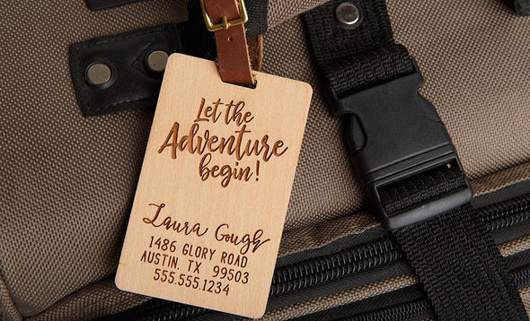 Personalized Wood Luggage Tags -  - Qualtry