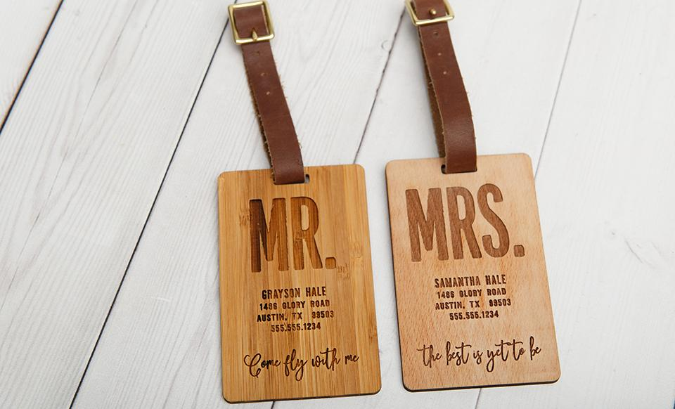 Personalized Couples Wood Luggage Tags - Set of 2