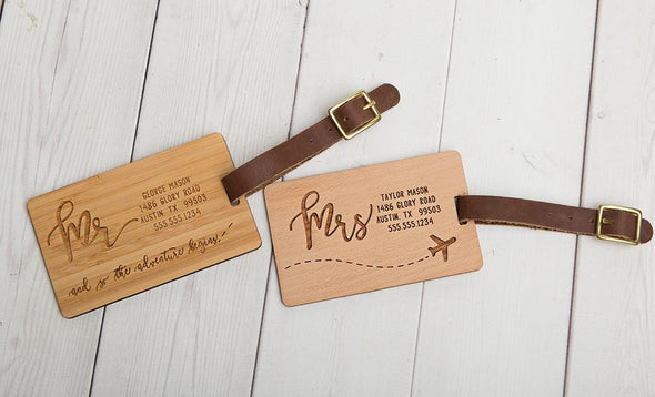 Personalized Couples Wood Luggage Tags - Set of 2 -  - Qualtry