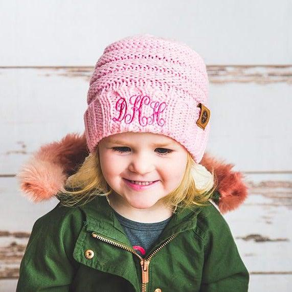 Kids Personalized Beanie Hats - Soft Pink - Qualtry