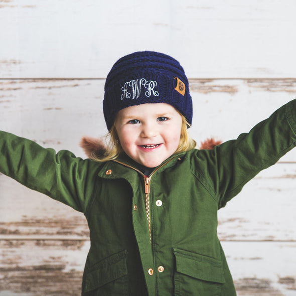Kids Personalized Beanie Hats - Navy - Qualtry