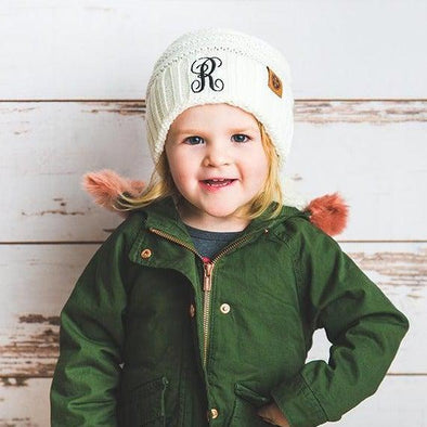 Kids Personalized Beanie Hats - Cream - Qualtry