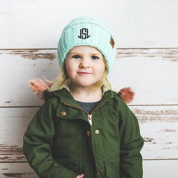 Kids Personalized Beanie Hats - Mint - Qualtry