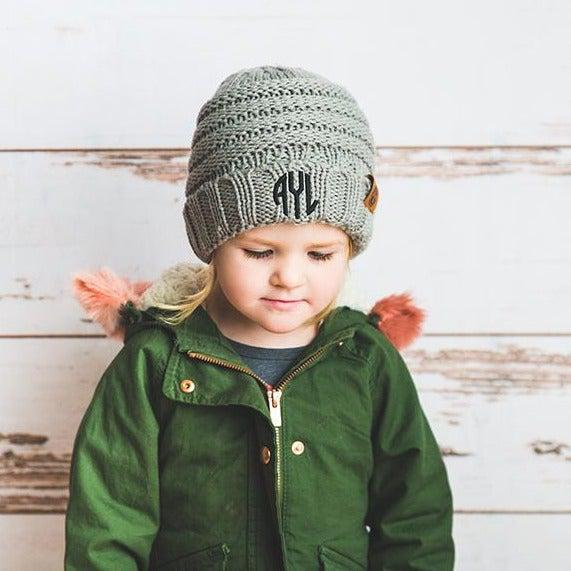 Kids Personalized Beanie Hats - Light Grey - Qualtry
