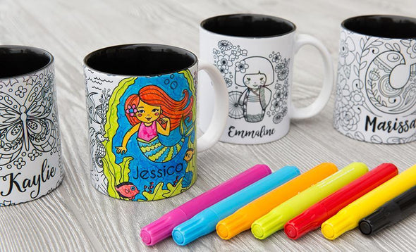 Color Your Own Mug - Coloring Mugs (Markers not included) -  - Qualtry