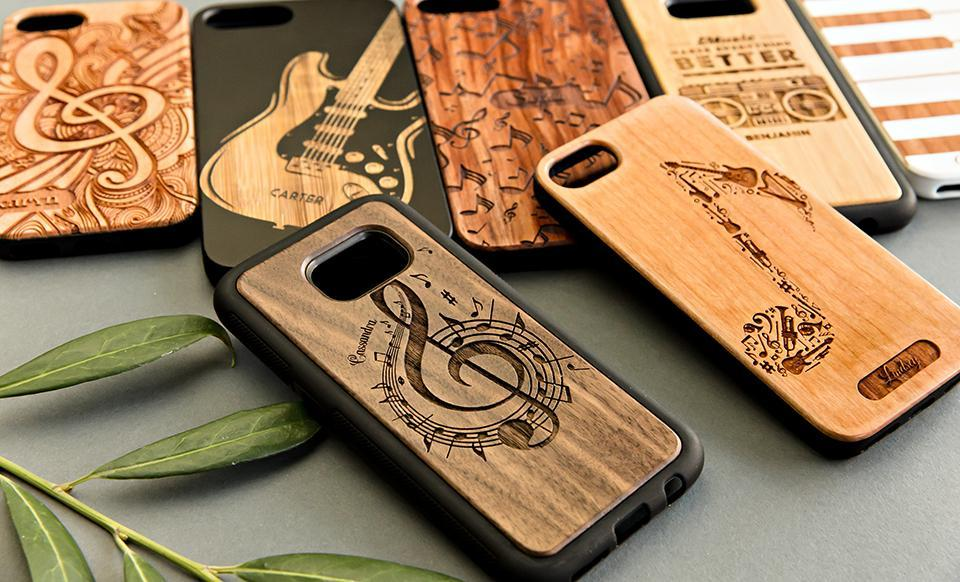 Personalized Wooden Phone Cases - Music Collection