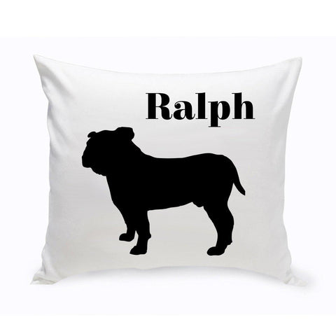 Monogrammed Dog Throw Pillow -  Classic Silhouette - EnglishBulldog - Pet Gifts - AGiftPersonalized
