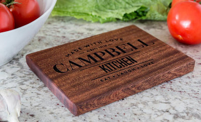 Personalized 6x8 Mahogany Cutting Board (Modern Collection) -  - Qualtry