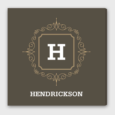 Initial Motif Canvas Sign with Family Name -  - JDS