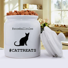 Personalized Cat Silhouette Treat Jar -  - Pet Gifts - AGiftPersonalized
