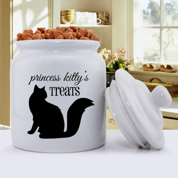 Personalized Cat Silhouette Treat Jar - Script Design -  - JDS