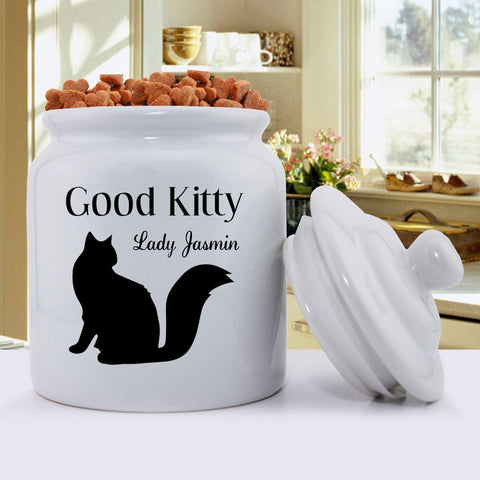 Personalized Cat Silhouette Treat Jar - Modern Design -  - Pet Gifts - AGiftPersonalized
