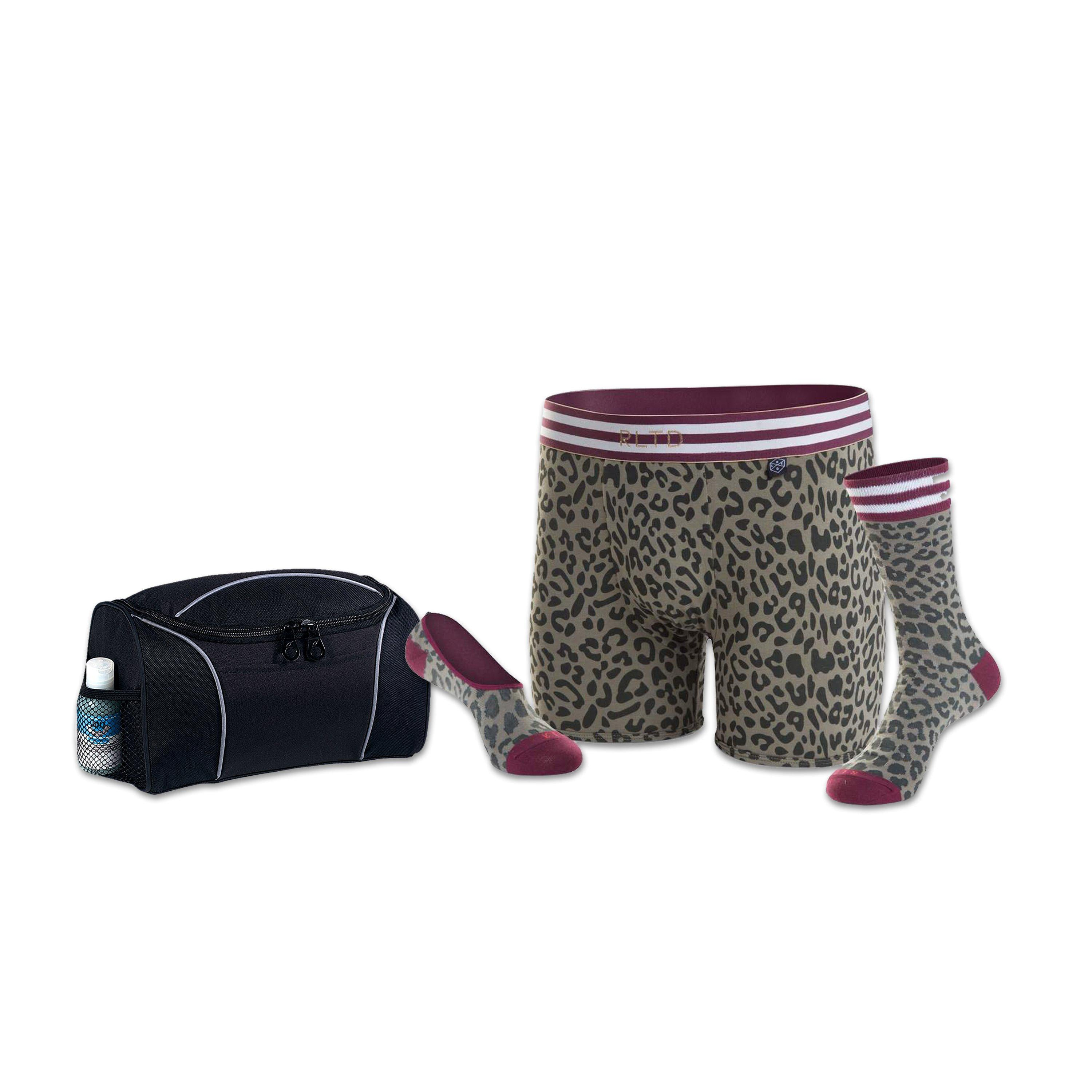 Men's Undergarment Set - Cheetah with Travel Kit