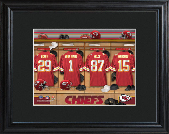 Personalized NFL Locker Sign w/Matted Frame - All Teams - Chiefs - JDS