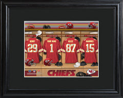 Personalized NFL Locker Sign w/Matted Frame - All Teams - Chiefs - Professional Sports Gifts - AGiftPersonalized