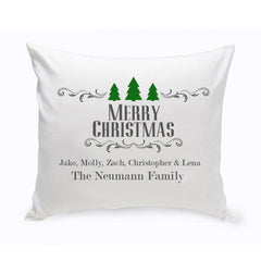 Personalized Christmas Trees Family Throw Pillow at AGiftPersonalized