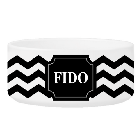 Personalized Small Dog Bowl - Cheerful Chevron - Black