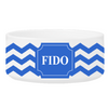 Personalized Small Dog Bowl - Cheerful Chevron - Blue - JDS