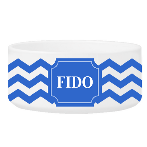Personalized Large Dog Bowl - Cheerful Chevron - Blue