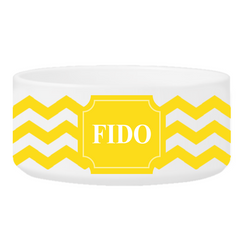 Personalized Small Dog Bowl - Cheerful Chevron - GoldenYellow - Pet Gifts - AGiftPersonalized
