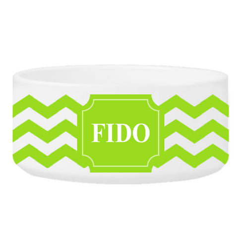 Personalized Small Dog Bowl - Cheerful Chevron - Green - Pet Gifts - AGiftPersonalized