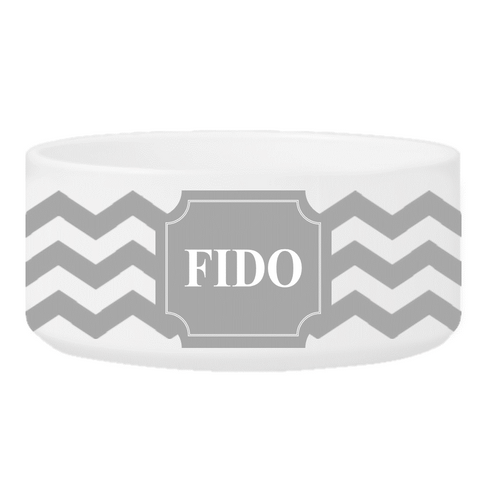 Personalized Small Dog Bowl - Cheerful Chevron - Gray