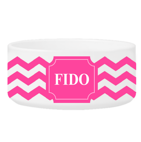 Personalized Large Dog Bowl - Cheerful Chevron - Pink