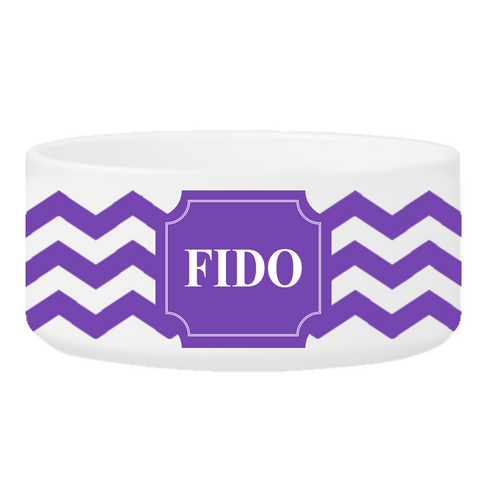 Personalized Large Dog Bowl - Cheerful Chevron - Purple