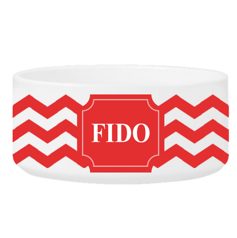 Personalized Small Dog Bowl - Cheerful Chevron - Red